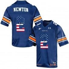 2016 US Flag Fashion Men Under Armour Cam Newton 2 Auburn Tigers College Football Throwback Jersey  Navy Blue