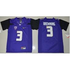 2016 Youth NCAA Washington Huskies 3 Jake Browning Purple College Football Limited Jersey