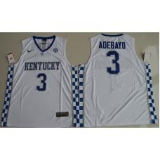 2017 Kentucky Wildcats Edrice Adebayo 3 College Basketball Hype Elite White Jersey