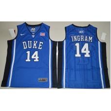Duke Blue Devils Brandon Ingram 14 V Neck College Basketball Elite Jersey - Blue