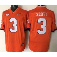 NCAA 2016 Clemson Tigers 3 Scott orange jerseys