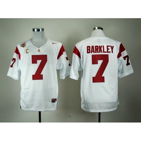 NCAA USC Trojans 7 Matt Barkley White Nike Pac-12 C Patch College Football Jersey