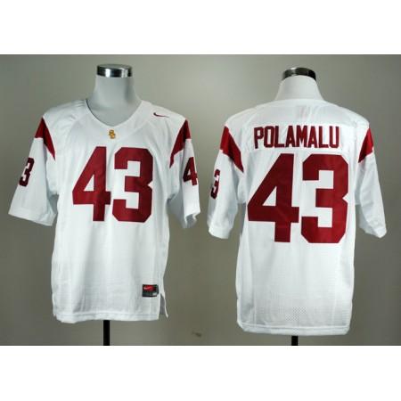 NCAA USC Trojans Troy 43 Polamalu White Nike College Football Jersey.
