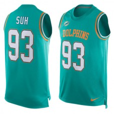2016 Miami Dolphins 93 Ndamukong Suh Nike Player Name & Number Tank Top - Aqua