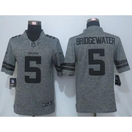 2016 New Nike Minnesota Vikings 5 Bridgewater Gray Men's Stitched Gridiron Gray Limited Jersey.