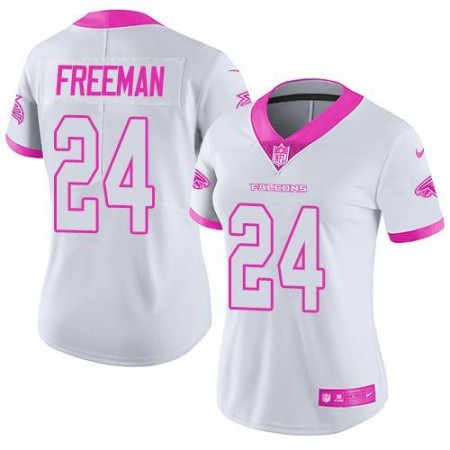 2016 Nike  Atlanta Falcons 24 Devonta Freeman White Pink Women Stitched NFL Limited Rush Fashion Jersey