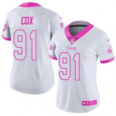 2016 Nike Philadelphia Eagles 91 Fletcher Cox White Pink Women Stitched NFL Limited Rush Fashion Jersey