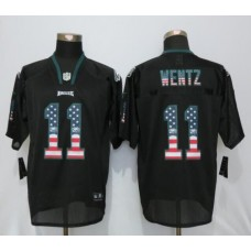 2016 Philadelphia Eagles 11 Wentz USA Flag Fashion Black New Nike Elite Jerseys