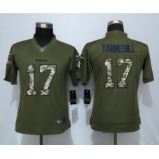 2016 Women New Nike Miami Dolphins 17 Tannehill Green Salute To Service Limited Jersey