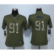 2016 Women New Nike Miami Dolphins 91 Wake Green Salute To Service Limited Jersey