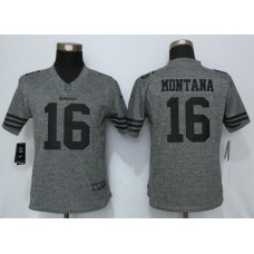 2016 Women Nike San Francisco 49ers 16 Montana Gray Men's Stitched Gridiron Gray Limited Jersey