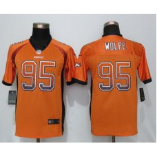 2016 Youth NEW Nike Denver Broncos 95 Wolfe Drift Fashion Orange Elite Jerseys