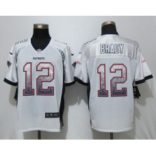 2017 New Nike New England Patriots 12 Brady Drift Fashion White Elite Jerseys