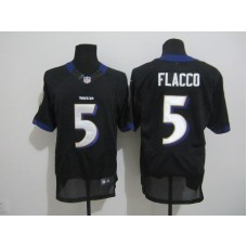Baltimore Ravens 5 Flacco Black Nike Elite Jersey