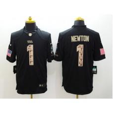 Carolina Panthers 1 Newton Black Nike Salute TO Service Jerseys