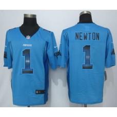 Carolina Panthers 1 Newton Pro Line Blue Fashion Strobe 2015 New Nike Jersey