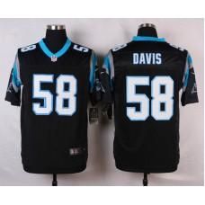 NFL Customize Carolina Panthers 58 Davis Black Men Nike Elite Jerseys