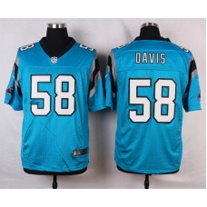 NFL Customize Carolina Panthers 58 Davis Blue Men Nike Elite Jerseys