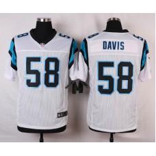 NFL Customize Carolina Panthers 58 Davis White Men Nike Elite Jerseys