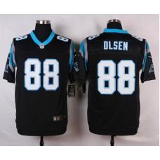NFL Customize Carolina Panthers 88 Olsen Black Men Nike Elite Jerseys