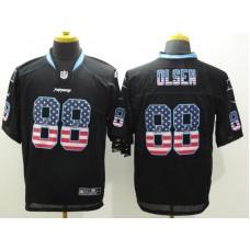 Carolina Panthers 88 Olsen Black Nike USA Flag Fashion Elite Jerseys