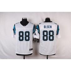 NFL Customize Carolina Panthers 88 Olsen White Men Nike Elite Jerseys