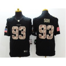 Miami Dolphins 93 Suh Black Nike Salute TO Service Jerseys