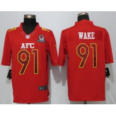 New Nike Miami Dolphins 91 Wake Nike Red 2017 Pro Bowl Limited Jersey