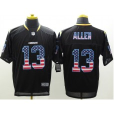 Los Angeles Chargers 13 Allen USA Flag Fashion Black Nike Elite Jerseys.