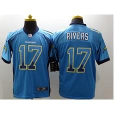 Los Angeles Chargers 17 Philip Rivers Blue Drift Fashion Nike Elite Jerseys