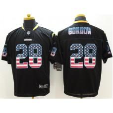 Los Angeles Chargers 28 Gordon USA Flag Fashion Black Nike Elite Jerseys