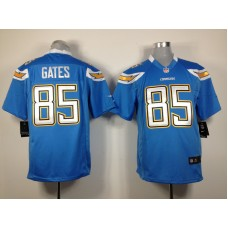 Los Angeles Chargers 85 Gates Light Blue Nike Game Jersey