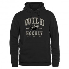 2016 NHL Mens Minnesota Wild Black Camo Stack Pullover Hoodie