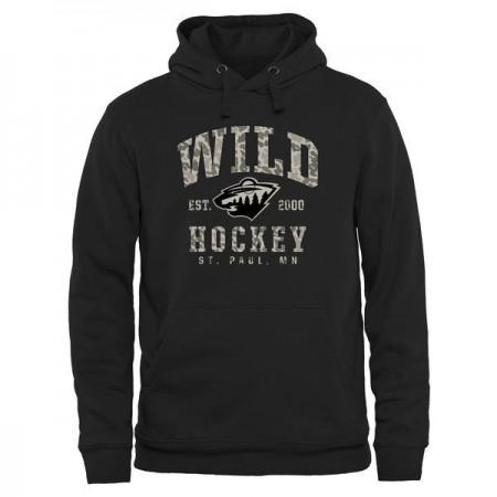 2016 NHL Mens Minnesota Wild Black Camo Stack Pullover Hoodie