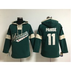 NHL Minnesota Wild 11 Zach Parise  Green Lace Up Pullover Hooded Sweatshirt