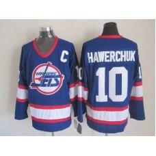NHL Winnipeg Jets 10 Hawerchvk Blue CCM Throwback Jersey