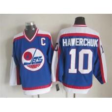 NHL Winnipeg Jets 10 Hawerchvk Blue Throwback Jersey