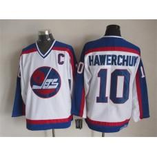NHL Winnipeg Jets 10 Hawerchvk white CCM Throwback Jersey