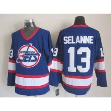 NHL Winnipeg Jets 13 Selanne Blue CCM Throwback Jersey