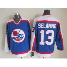 NHL Winnipeg Jets 13 Selanne Blue Throwback Jersey