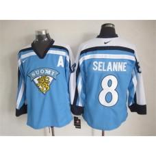 NHL Winnipeg Jets 8 Teemu Selanne 2015 Suomi Light Blue