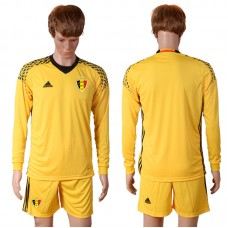 2016 Europe Belgium yellow goalkeeper long sleeves soccer jerseys