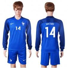 2016 European Cup France home long sleeve 14 Matuidi Blue Soccer Jersey