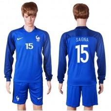 2016 European Cup France home long sleeve 15 Sagna Blue Soccer Jersey