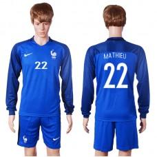 2016 European Cup France home long sleeve 22 Mathieu Blue Soccer Jersey