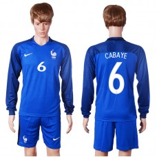 2016 European Cup France home long sleeve 6 Cabaye Blue Soccer Jersey