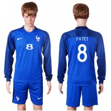 2016 European Cup France home long sleeve 8 Payet Blue Soccer Jersey