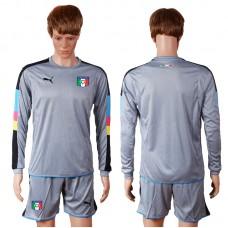 2016 European Cup Italy grayness goalkeeper long sleeves Blank Grey Soccer Jersey