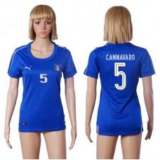 2016 European Cup Italy home 5 CANNAVARO Blue Women soccer jerseys