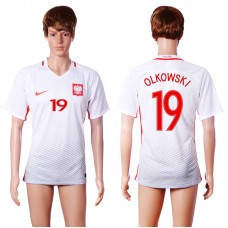 2016 European Cup Poland home 19 OLKOWSKI White AAA+ Soccer Jersey